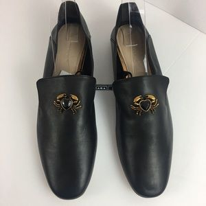 Zara Woman Detailed Leather Loafers S Eur 42 uS 11